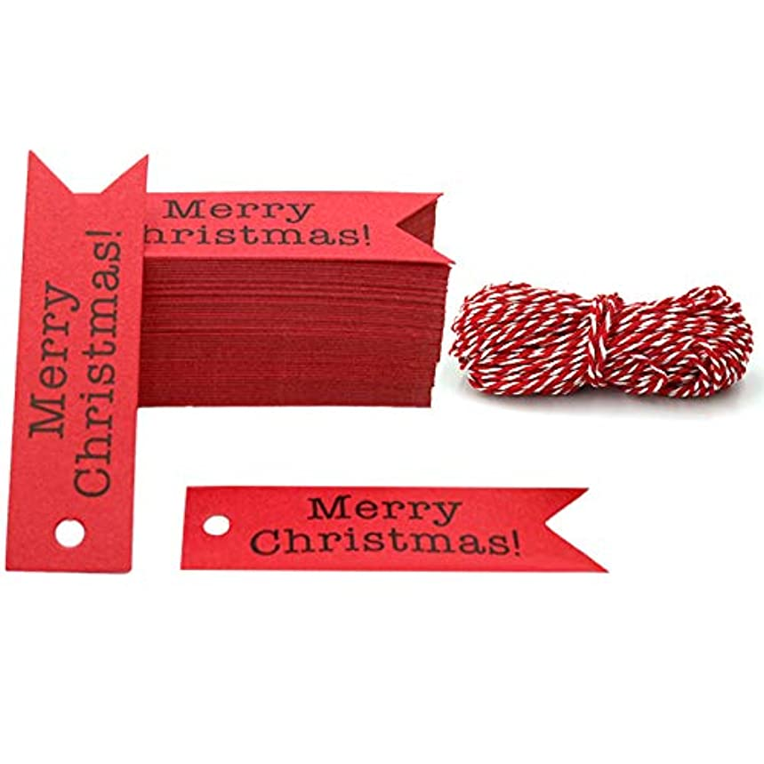 Merry Christmas Tags, 100 PCS Kraft Paper Gift Tags with 100 Feet Natural Jute Twine Perfect for DIY Arts and Crafts, Wedding Christmas Thanksgiving and Holiday (Red)