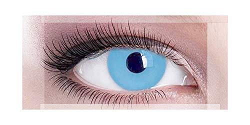 Farbige Kontaktlinsen, Himmelblau, transparent, für Halloween, 1 Jahr verwendbar, ohne Stärke, Fantasie, für verrückte Kostüme