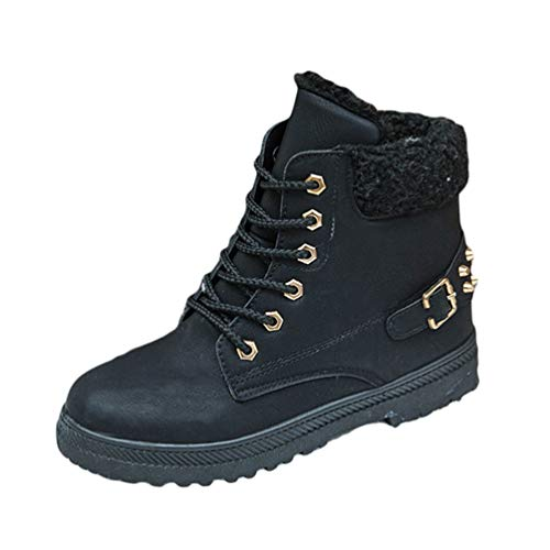Baijiaye Botas de Nieve Mujer Invierno Fur Botines Planos Calientes Tobillo Zapatos Forro Polar Casual Negro