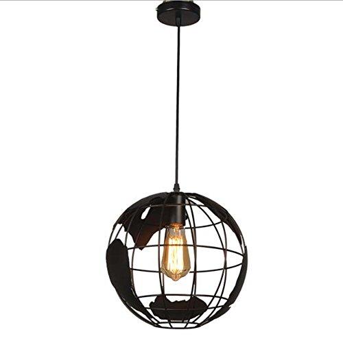 Tellurion Globe Pendant Light, SUN RUN Lampada a sospensione Creative Hanging Metal Wire Gage Lampadario per bambini Bedroom Living Room Bar Coffee (Black)