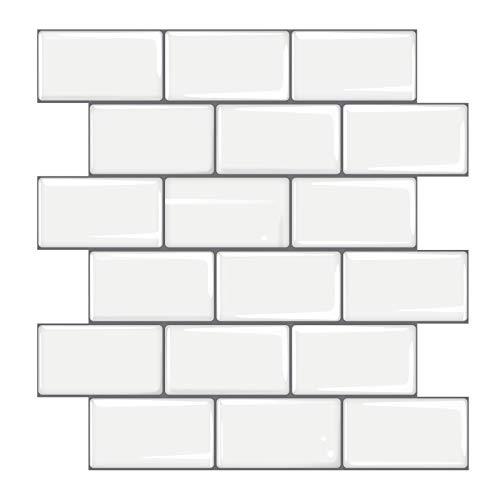 3D White Subway Tile Wallpaper Peel and Stick Backsplash Epoxy Self-Adhesive Tiles for Kitchen Wall (16, 10 x 10 Inch)
