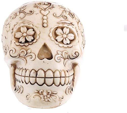 YsKYCA Estatua Escultura Decoración,Artesanías Simples Bar Café Sala Estar Regalo De Boda Adornos Estatuas Y Figuritas Resina Flores Creativas Cabeza Cráneo Figuras Adornos De Halloween Mesa De Bar