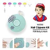 Eléctrico Lima de uñas del bebé,Juego de manicura para los dedos y pies de bebés y adultos, incluido 6 Cabezas de Limado (green)