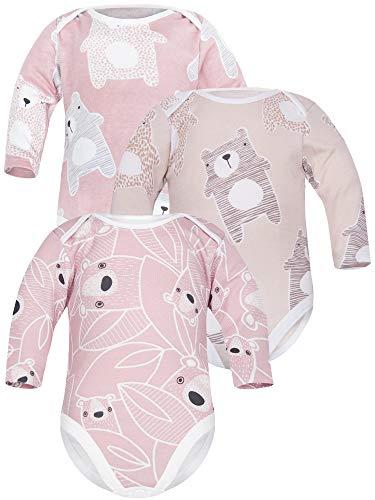 Sibinulo Pojkar flickor body långärmad 3-pack, Rosa björnar beige bär rosa björnar på bladen, 3-6 månader