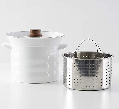 富士ホーローパスタ鍋IH対応パスタポットホワイト20cmN-20P.W