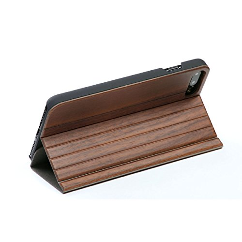 WOLA Carcasa Flip Madera para iPhone 7 Plus / 8 Plus Forrest Funda de Madera Nogal