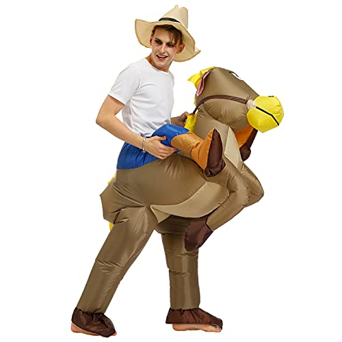 Herrdan Disfraz Inflable, Pony Horse Cowboy Rider Suit Unisex, Disfraz De Explosin, Show De Fiesta, Disfraz De Halloween, Cosplay (Adulto)