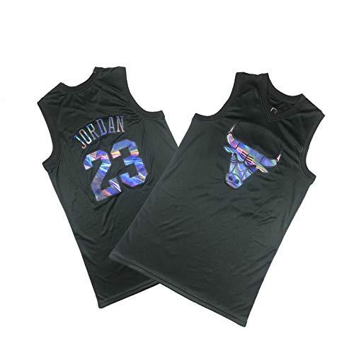 YDHZ Búlll 23# Jordán Basketball Jersey Shorts Transpirable Malla Bordado Camiseta de Manga Corta Black-XXXL