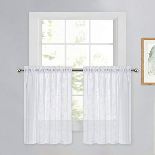 PONY DANCE White Sheer Voile - Kitchen Curtains Linen Look Semi-Transparent Tiers Casual Rod Pocket Short Valances Drapes for Small Window Kitchen & Cafe, 52 Wide x 36 Long, Set of 2