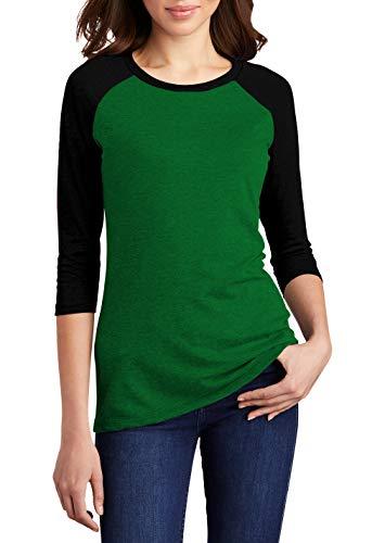 Decrum Green and Black Soft Cotton Baseball Jersey 3/4 Sleeve Womens Raglan Shirt   Gren&Blk Raglan, 2XL