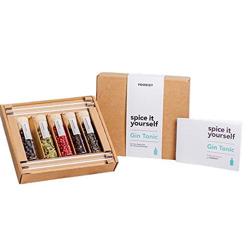 Foodist Gin Gewürze Geschenk-Set | 5x hochwertigen Gin Botanicals mit 4x Cocktail-Glasstrohalme | Gin-Tonic Tasting zum Selber Machen Set inkl. kleinem Gin-Rezepte-Buch und Quiz | Premium Gewürze Set