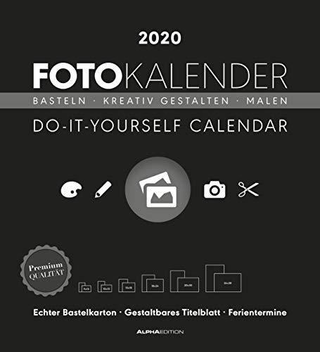 Foto-Bastelkalender schwarz XL 2020 - Bastelkalender - Do it yourself calendar (45 x 49,5) - datiert - Kreativkalender - Fotokalender
