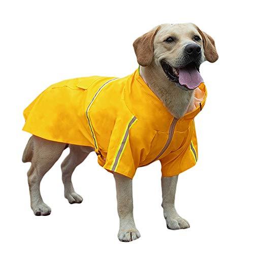 okdeals Dog Raincoat Leisure Waterproof,Dog Poncho with Hood Transparent Brim,Adjustable Dog Reflective Raincoat for Medium Dogs Yellow