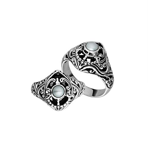 Sterling Silver Ring with Round Mabe Pearl AR-6296-PE-9