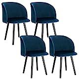 WOLTU 4X Sillas de Comedor Nordicas Estilo Vintage Dining Chairs Juego de 4 Sillas de Cocina Tulip Sillas Tapizadas en Terciopelo Silla de Conferencia Silla de Escritorio Azul BH121bl-4