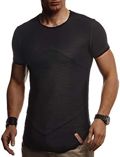 Leif Nelson Herren Sommer T-Shirt Rundhals Ausschnitt Slim Fit Baumwolle-Anteil Cooles Basic Männer T-Shirt Crew Neck Jungen Kurzarmshirt O-Neck Kurzarm Lang LN8281 Schwarz Large
