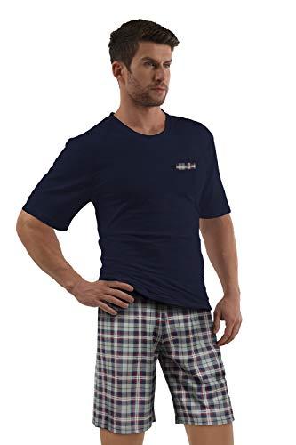 e.VIP® Herren Schlafanzug Chris S 325A Kurzarm Kurze Hose Reine Baumwolle in Farbe Marine in Größe M