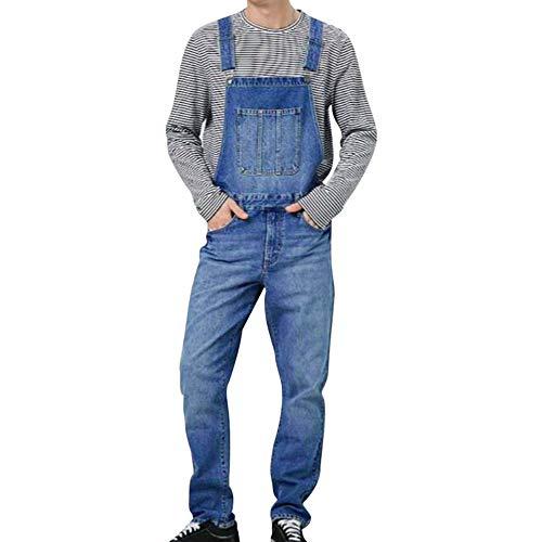 Puimentiua Herren Jeans Latzhose Retro Denim Overalls Fashion Streetwear Lässige Slim Jumpsuit Arbeitshosen mit Taschen Stone-Washed in Blau
