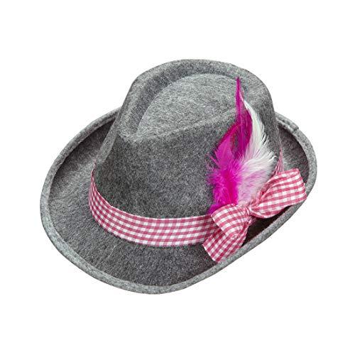 Amakando Witziger Bayern-Hut als Kostüm-Zubehör Dirndl / Filz grau mit Karoband & Federn rosa-weiß / Sepplhut für Damen / Ideal zu Karneval & Themenabend