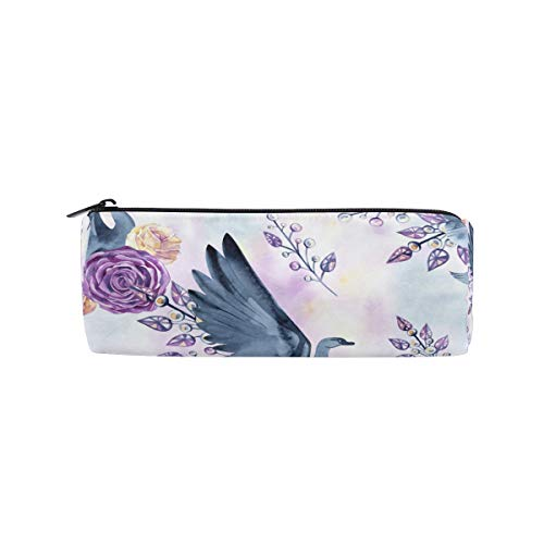 ATONO Delicate Swans Feathers Roses Jewelry Hand-Drawn Watercolor Round Drum Pencil Pen Bag Marker Metal Zippers Pouch Holders Stationery Cases Canvas Storage Box 8x3x3 Inch for Studens, Boys\&Girls