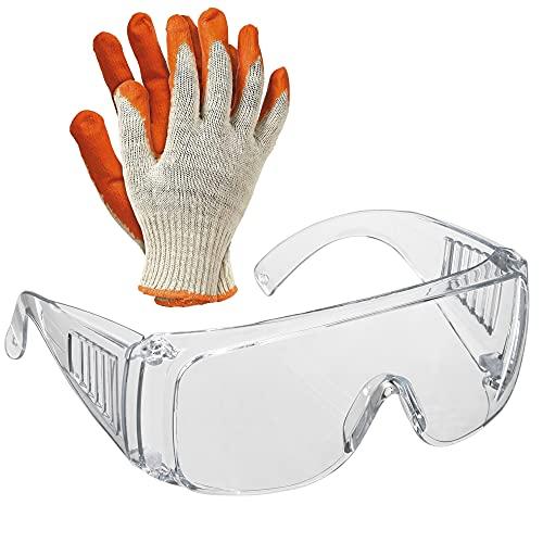 Gafas de seguridad y trabajo, para la protección de tus ojos en el ámbito sanitario, industrial y agrícola | Gafas de seguridad anti vaho mas 1 par, de guantes de trabajo