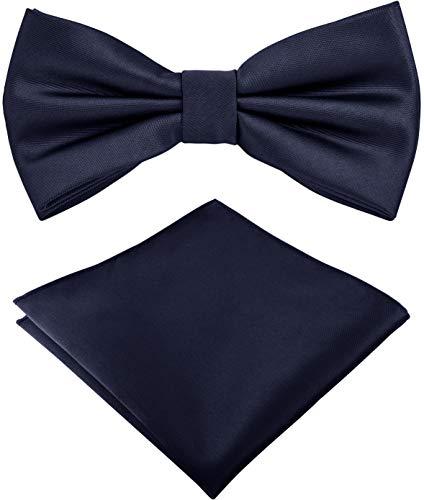 Helido Fliege für Herren mit Einstecktuch, 12 verschiedenfarbige Accessoires-Sets passend zu Hemd und Anzug oder Smoking + Geschenkbox (Dunkelblau)