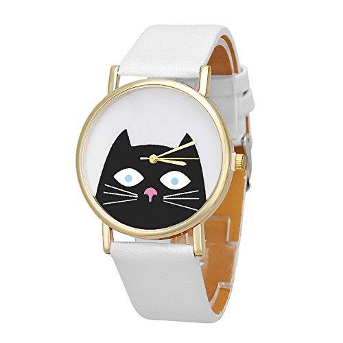xy Casual Nuevo Lindo patrón de Gato Mujer Banda de Cuero analógico Reloj de Pulsera Reloj de muñeca relogio Feminino Relojes analógicos Relojes analógicos B40 (Color : White)