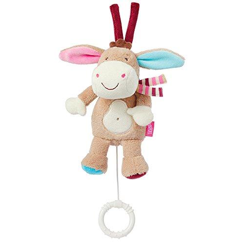 Fehn 081619 Mini-Spieluhr Esel – Kuscheltier mit integriertem Spielwerk mit sanfter Melodie zum Aufhängen an Kinderwagen, Babyschale oder Bett, für Babys und Kleinkinder ab 0+ Monaten