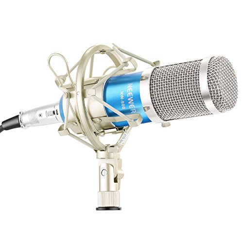 Neewer® NW-800 - Juego de micrófono Condensador Profesional NW-800 + (1) Soporte para micrófono + (1) Tapa de Espuma antiviento Tipo Bola + (1) Cable de alimentación para micrófono (Azul)