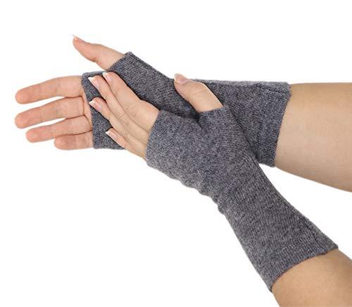 prettystern reine Kaschmir-Wolle Cashmere Pulswärmer Stulpen gestrickte Damen Fingerlose Handschuhe Dunkel-Grau