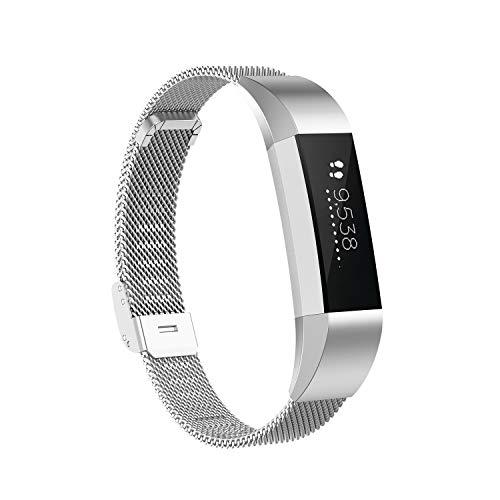 KOMI Correa de repuesto para reloj inteligente Fitbit Alta/Alta HR de acero inoxidable, pulsera de metal