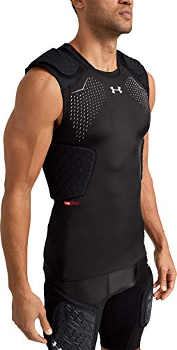 Under Armour Gameday Pro 5-Pad Football Compression Top, Football padded Top, Youth & Adult sizes, Black, Adult - Medium