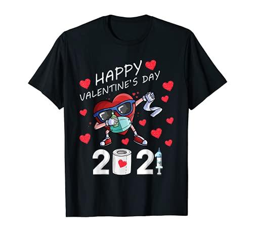 Dabbing Corazón En Una Máscara 2021 Día de San Valentín Dab Niños Niños Camiseta
