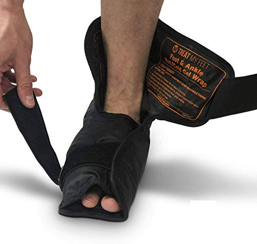 Foot & Ankle Pain Relief Hot/Cold Gel Wrap - Effectively Relieve Foot and Ankle Aches & Pains Using Compression Gel Ankle Ice Pack Wrap - Heated or Cooled, Targets All Areas of Ankle & Foot - Large