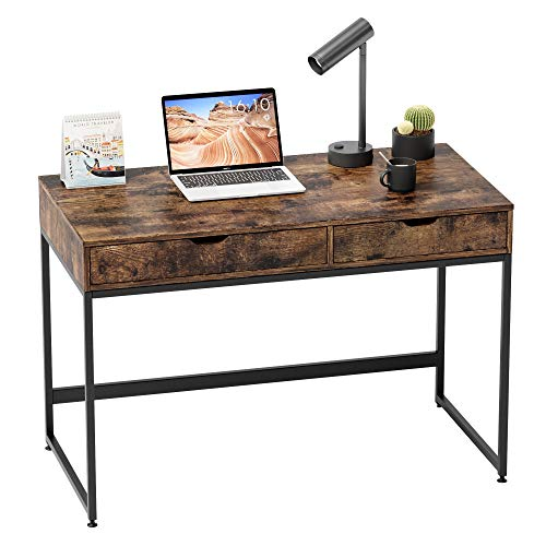 Bestier Computer Desk with Drawers, 43.3 Inch Home Office Writing Desk, Vanity Makeup Table, Rustic Brown