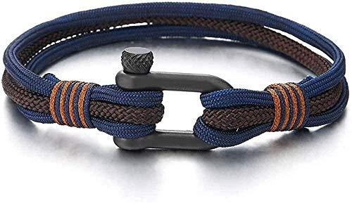 YOUZYHG co.,ltd Pulseras de Ancla de Tornillo de Acero para Hombre y Mujer, Correa de Marinero náutica de Marinero Azul Marino con Cuerda marrón