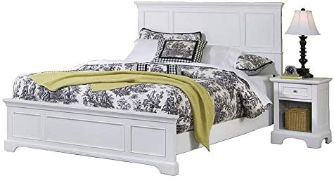 Home Styles Naples White Queen Bed and Nightstand with Poplar Hardwood Construction, Storage Drawer, and Open Storage Area
