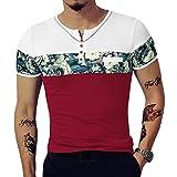 LOGEEYAR Men's Casual Slim Fit Short Sleeve Color Block Printing Henley T-Shirts (Medium, 527-red)