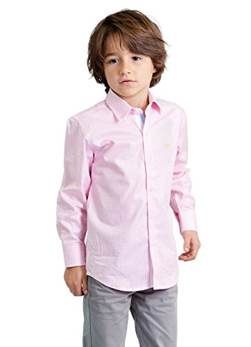 Dakomoda Toddler Boys' Pink Check Pima Cotton Gingham Shirt, Easter Dress Shirt 2T