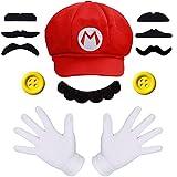iZoeL Costume Super Mario Incluso 1X Cappello Mario 2X Guanti Bianchi 7X Moustache 2X Pulsanti 38mm per Costume di Carnevale Decorazione per Feste Bambino Adulto
