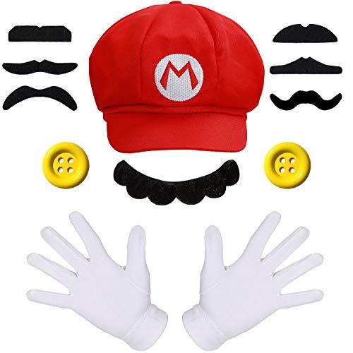 Super Mario Mütze + Handschuhe + Bart + 38mm XL Knöpfe gelb Kostüm für Fasching Karneval Motto Party für Kinder und Erwachsene