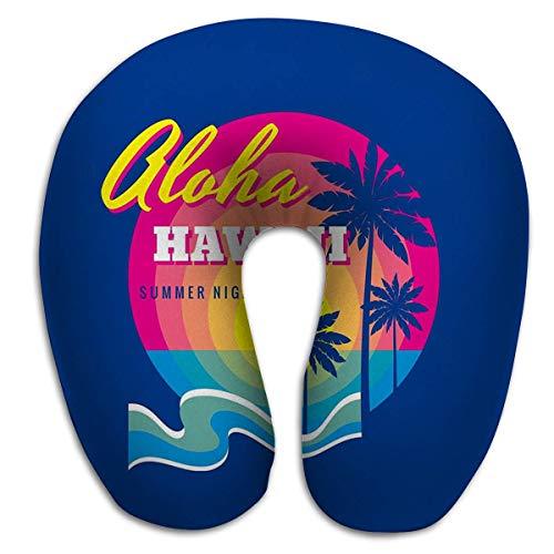 Volar Almohada de Viaje en Forma de U y Espalda Aloha Hawaii Insignia de Verano Concepto Vintage Retro Estilo gráfico Otras Impresiones Palmas Sol