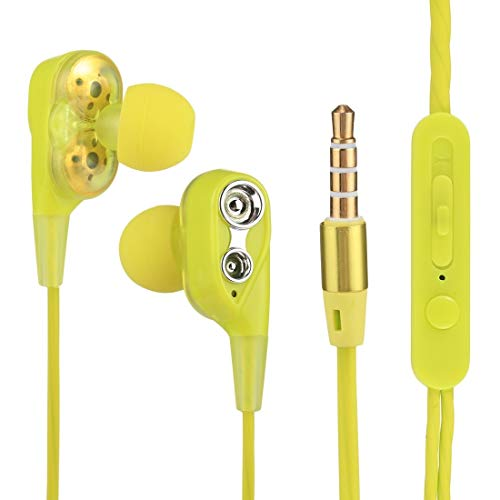 N / A Earphone Headset Earbuds Dual Driver in-Ear Wired 3.5mm Stereo Earphones Headset with Mic, for iPhone, Samsung, HTC, Sony and Other Smartphones (Color : Yellow)