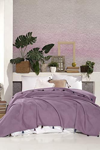BOHORIA® Premium Tagesdecke Colors of Morocco - Bettüberwurf Wohndecke Wendedecke Kuscheldecke Sofadecke mit Tasseln | extra-groß 220 x 240 cm (Plum)