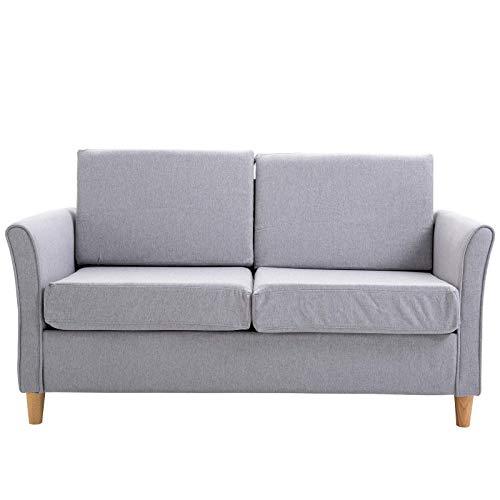 DFGH Sofá de 2 plazas, sofá Cama de Tela + Espuma + Madera de Pino, Sofá 2 Plazas Lounge Cama Asiento para Salón Oficina Mueble Gris Claro