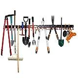 64' Broom Mop Holder Garage Tool Organizer Heavy Duty Tools Hanger Wall Mounted Holds Garden Tools, Shovels, Rakes, Brooms, Cords, Hoses, Ropes