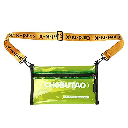 Maijia Bolso bandolera transparente, impermeable de PVC, mochila cruzada para hombro, unisex, bolsa de hombro de calle, bolsa de hombro Hip-hop