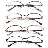 Liansan 4 Pairs Quality Ladies' Readers Metal Half Frame Reading Glasses for Women L731(+3.25)