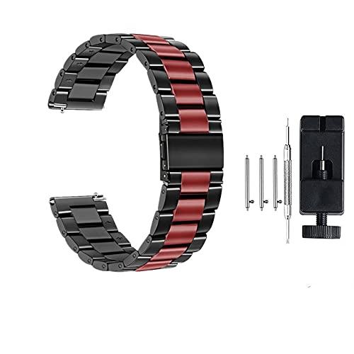 Correa de Reloj de Acero Inoxidable 18 mm 22 mm 20 mm 24 mm para Engranaje S S3 S2 para Hua GT 2 Mira 42mm 46 Banda 40 44mm Banda de Relojes de Pulsera (Band Color : Black Red, Band Width : 20mm)