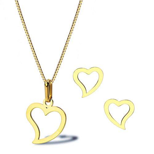 ASUROM Amor Collar Pendientes Temperamento Mujer Titanio Acero Pequeño Durazno Corazón 18K Chapado En Oro Simple Conjunto De Joyas